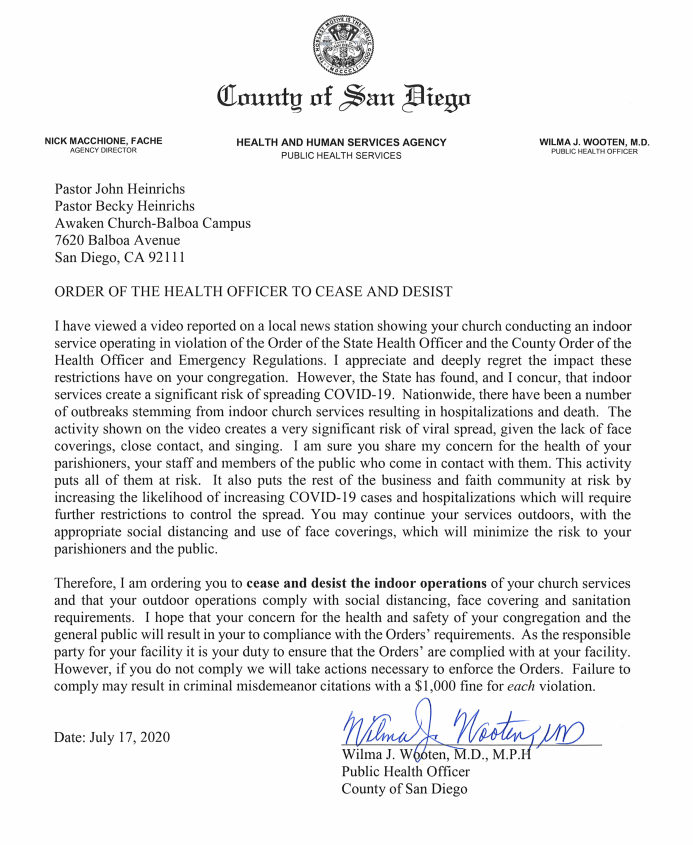 County Of San Diego Cease And Desist Awaken Church Letter