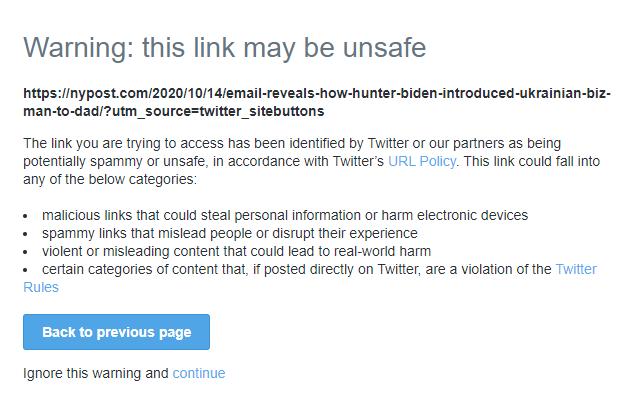 Twitter Has Blocked Links To Ny Post Story