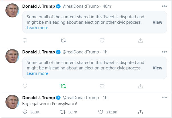 Trump Tweets On Election Censored
