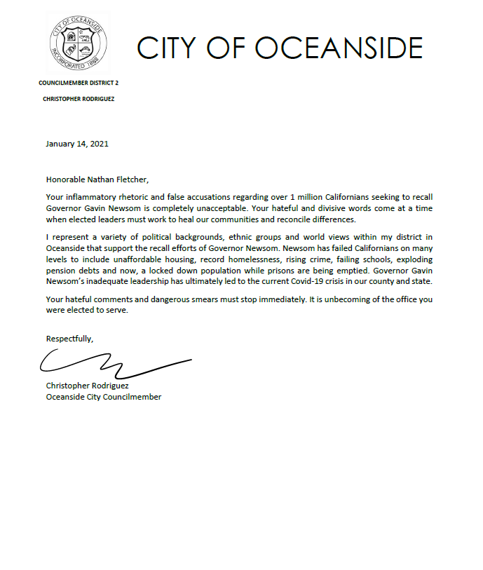 Chris Rodrigues Letter To Newsom
