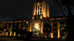 County Building Lit For Covid Deaths
