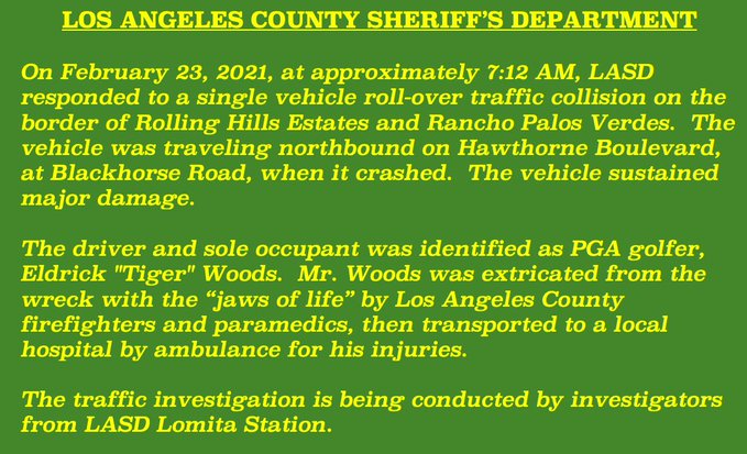 Lacsd Tiger Crash Report