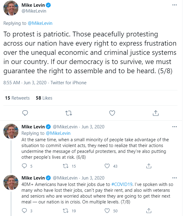Mike Levin On George Floyd Protest Tweets