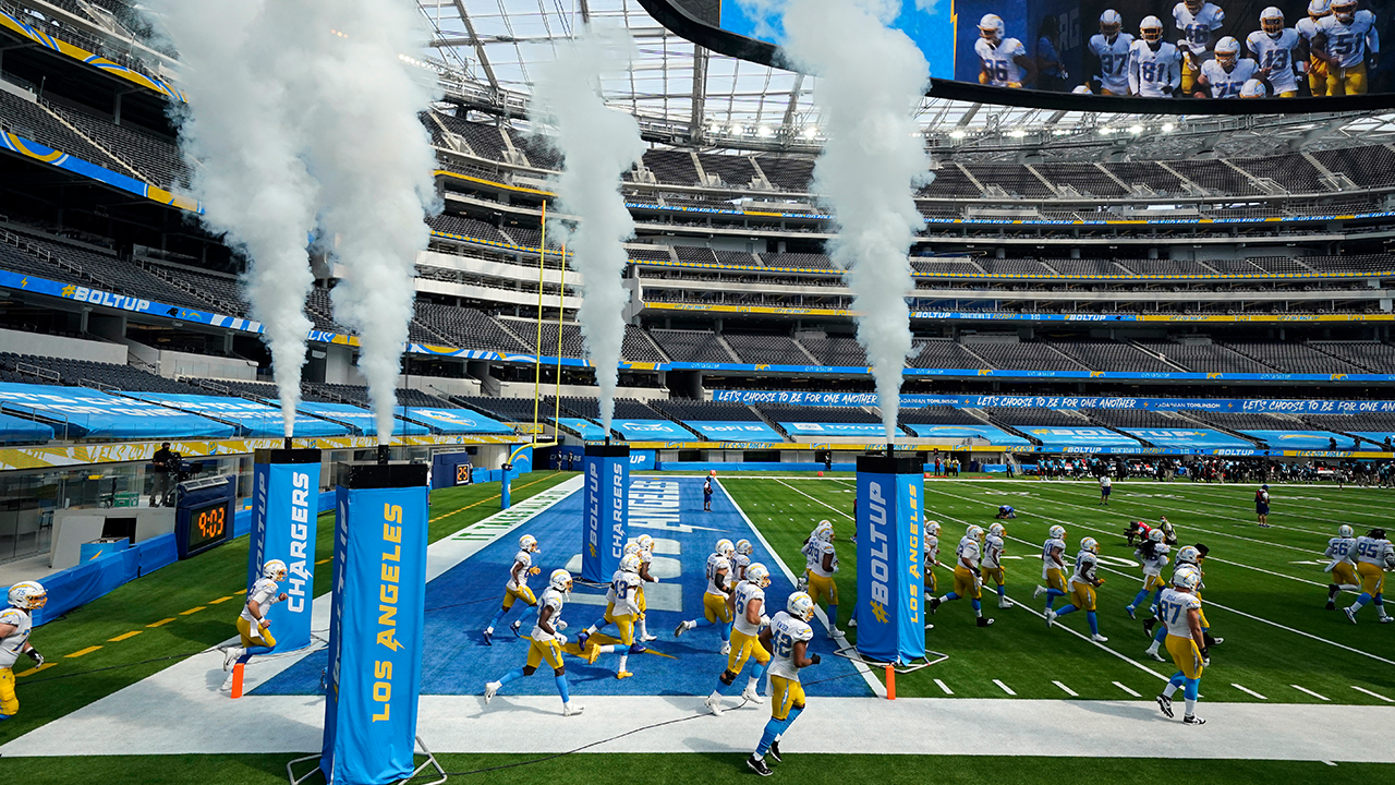 Los Angeles Chargers Running On Field