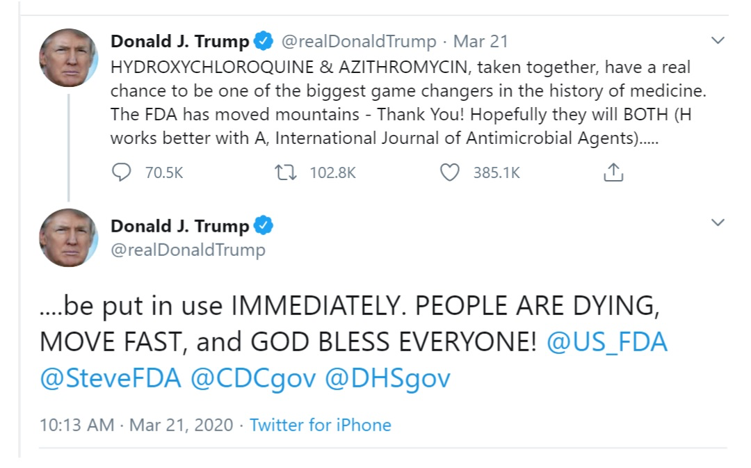 Trump Tweets Success Of Hyddroxychloroquine